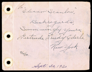 GERTRUDE T. EDERLE - AUTOGRAPH NOTE SIGNED 09/14/1930