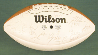 THE LOS ANGELES RAMS - FOOTBALL SIGNED CO-SIGNED BY: RONALD JAMES BROWN, KARL WENDELL WILSON, PAT TERRELL, MARCUS DUPREE, KEVIN DARWYN GREENE, ALVIN WRIGHT, HENRY ELLARD, BUFORD LAMAR McGEE, ROGER DALE HATCHER, MIKE McDONALD, JAMES SAMUEL EVERETT III, TERRY CREWS, DUVAL, LEE LOVE, JEFF PAHUKOA, FREDRICK WILLIAM STRICKLAND JR., JERRY GRAY, MOSIULA TATUPU, ROBERT YOUNG, DAVID LANG, GERALD ROBINSON, CARL DOUGLAS SMITH, PAUL MARTIN BUTCHER, LARRY DEAN KELM, MIKE PIEL, GLENELL SANDERS, DARRYL HENLEY, GERALD PERRY, BRETT ALLEN FARYNIARZ, BERN BROSTEK, JOSEPH MICHAEL MILINICHIK, RODNEY LAMAR THOMAS, VERNON TURNER, MICHAEL STEWART, JIMMY RAYE, CLEVELAND GARY, MICHAEL JONATHAN PAGEL, ROMAN PHIFER, ROBERT JENKINS, SAMMY LILLY, NEAL FORT, TOM G. NEWBERRY, AARON DION COX, TONY ZENDEJAS, ERNIE THOMPSON