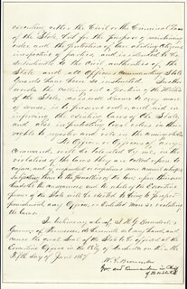 Autographs: WILLIAM G. BROWNLOW - MANUSCRIPT DOCUMENT SIGNED 06/05/1867