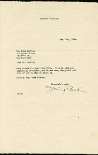 IRVING BERLIN - TYPED LETTER SIGNED 05/15/1934