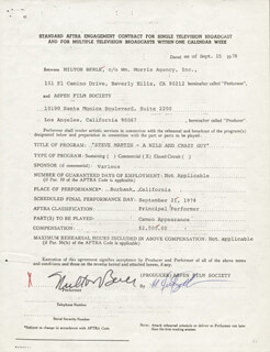 MILTON BERLE - CONTRACT SIGNED 09/15/1978
