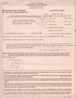ROBERT MITCHUM - DOCUMENT SIGNED 04/13/1961