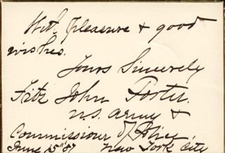Autographs: MAJOR GENERAL FITZ JOHN PORTER - AUTOGRAPH SENTIMENT SIGNED 06/15/1887