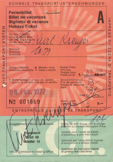Autographs: KURT KREUGER - TICKET SIGNED 02/08/1977