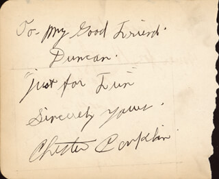 CHESTER CONKLIN - AUTOGRAPH NOTE SIGNED CO-SIGNED BY: GEORGE WALSH