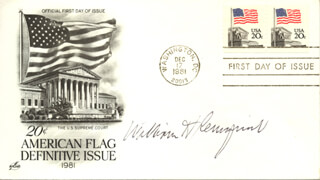 CHIEF JUSTICE WILLIAM H. REHNQUIST - FIRST DAY COVER SIGNED
