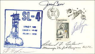 COLONEL GERALD P. JERRY CARR - COMMEMORATIVE ENVELOPE SIGNED CO-SIGNED BY: LELAND F. BELEW, EDWARD G. GIBSON, COLONEL WILLIAM R. BILL POGUE