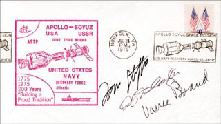APOLLO - SOYUZ CREW - COMMEMORATIVE ENVELOPE SIGNED CO-SIGNED BY: LT. GENERAL THOMAS P. STAFFORD, MAJOR DONALD DEKE SLAYTON, VANCE BRAND
