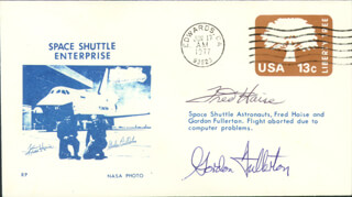 SPACE SHUTTLE ENTERPRISE CREW - COMMEMORATIVE ENVELOPE SIGNED CO-SIGNED BY: FRED W. HAISE JR., COLONEL C. GORDON FULLERTON
