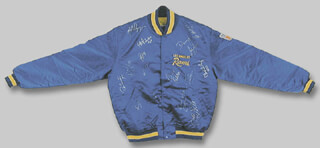 Autographs: THE LOS ANGELES RAMS - JACKET SIGNED CIRCA 1991 CO-SIGNED BY: RONALD JAMES BROWN, KARL WENDELL WILSON, PAT TERRELL, MARCUS DUPREE, ALVIN WRIGHT, BUFORD LAMAR McGEE, MIKE McDONALD, TERRY CREWS, JEFF PAHUKOA, MOSIULA TATUPU, DAVID LANG, GERALD ROBINSON, PAUL MARTIN BUTCHER, LARRY DEAN KELM, DARRYL HENLEY, BERN BROSTEK, JOSEPH MICHAEL MILINICHIK, RODNEY LAMAR THOMAS, VERNON TURNER, CLEVELAND GARY, ROMAN PHIFER, ROBERT JENKINS, SAMMY LILLY, TOM G. NEWBERRY, AARON DION COX, TONY ZENDEJAS, ERNIE THOMPSON, JACKIE SLATER, DAMONE JOHNSON, JIM EVERETT, PAT CARTER, FRANK STAMS, ROBERT DELPINO