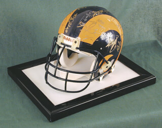 THE LOS ANGELES RAMS - HELMET SIGNED CIRCA 1991 CO-SIGNED BY: KARL WENDELL WILSON, MARCUS DUPREE, BUFORD LAMAR McGEE, MIKE McDONALD, TERRY CREWS, JEFF PAHUKOA, JERRY GRAY, MOSIULA TATUPU, DAVID LANG, GLENELL SANDERS, BRETT ALLEN FARYNIARZ, BERN BROSTEK, JOSEPH MICHAEL MILINICHIK, JIMMY RAYE, MICHAEL JONATHAN PAGEL, TOM G. NEWBERRY, TONY ZENDEJAS, ERNIE THOMPSON, MIKE CHARLES, JACKIE SLATER, DAMONE JOHNSON, JIM EVERETT, PAT CARTER, TOM GALE