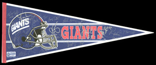 THE NEW YORK GIANTS - PENNANT SIGNED CO-SIGNED BY: STEPHEN BAKER, JIM BURT, JEFF HOSTETLER, BART OATES, MARK COLLINS, STEVE DEOSSIE, RAY HANDLEY, WILLIAM ROBERTS, PERRY WILLIAMS, JUMBO ELLIOTT