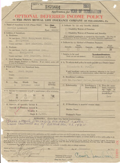 CAROLE LOMBARD - APPLICATION SIGNED 12/18/1934