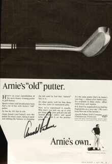 ARNOLD PALMER - ADVERTISEMENT SIGNED