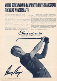 GARY PLAYER - ADVERTISEMENT SIGNED CIRCA 1965