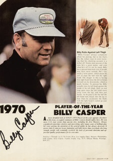 BILLY CASPER - MAGAZINE PAGE SIGNED