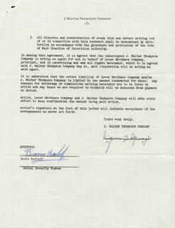 BORIS KARLOFF - CONTRACT SIGNED 12/26/1951
