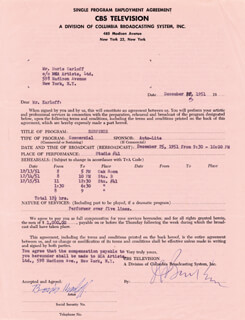 BORIS KARLOFF - CONTRACT SIGNED 12/12/1951
