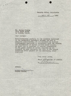 GEORGE DUNING - CONTRACT SIGNED 05/04/1962