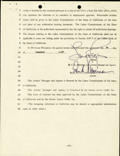GINGER ROGERS - CONTRACT DOUBLE SIGNED 12/29/1947