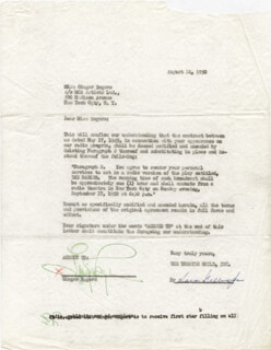 GINGER ROGERS - CONTRACT DOUBLE SIGNED 08/24/1950