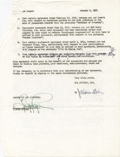 GINGER ROGERS - CONTRACT DOUBLE SIGNED 01/09/1951