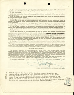 GINGER ROGERS - CONTRACT DOUBLE SIGNED 11/07/1951