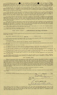 BURL IVES - CONTRACT DOUBLE SIGNED 02/01/1948