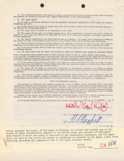 RUDY VALLEE - CONTRACT SIGNED 11/21/1949