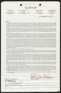 RUDY VALLEE - CONTRACT DOUBLE SIGNED 11/21/1949