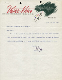 RUDY VALLEE - TYPED LETTER SIGNED 06/02/1951