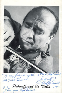 DAVID RUBINOFF - AUTOGRAPHED INSCRIBED PHOTOGRAPH 1955