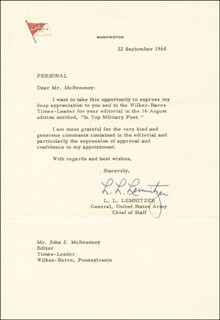 GENERAL LYMAN L. LEMNITZER - TYPED LETTER SIGNED 09/22/1960