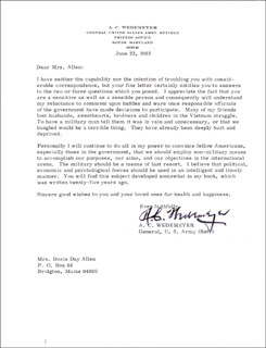 GENERAL ALBERT COADY WEDEMEYER - TYPED LETTER SIGNED 06/22/1983