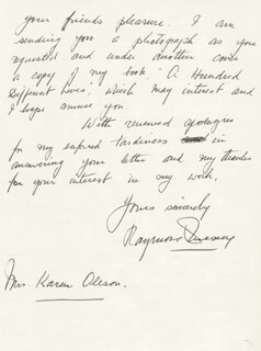 RAYMOND MASSEY - AUTOGRAPH LETTER SIGNED 03/19/1981