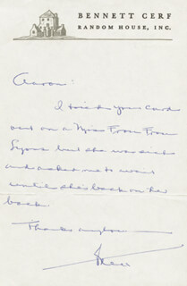 BENNETT CERF - AUTOGRAPH LETTER SIGNED CIRCA 1968