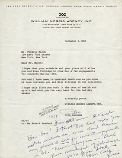 FREDRIC MARCH - AUTOGRAPH LETTER SIGNED 12/09/1965
