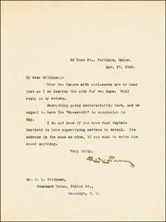 ADMIRAL ROBERT E. PEARY - TYPED LETTER SIGNED 04/17/1905