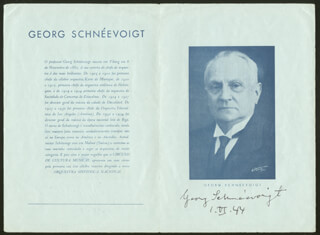 GEORG SCHNEEVOIGT - PROGRAM SIGNED 06/01/1944 CO-SIGNED BY: AUNE ANTTI