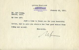 UPTON SINCLAIR - TYPED LETTER SIGNED 01/18/1933