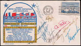 TRYGVE LIE - COMMEMORATIVE ENVELOPE SIGNED CO-SIGNED BY: ADRIAN PELT, BYRON F. WOOD, JOSEPH R. LOPEZ JR., V. H. GREGOIRE, DAVID B. VAUGHN, LEO ARFIN, EDWARD F. HIGGINS, A. CAREY SEWARD JR., E. D. BRODAUX