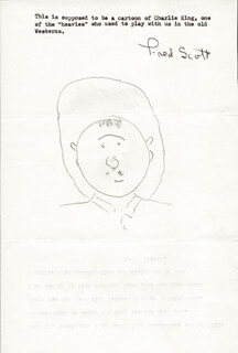 FRED L. THE SINGING BUCKAROO SCOTT - TYPED LETTER SIGNED WITH ORIGINAL ART 03/05/1980