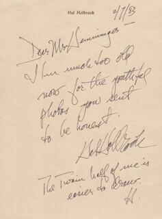 HAL HOLBROOK - AUTOGRAPH NOTE SIGNED 02/07/1983