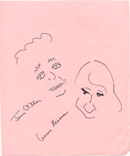 ANNE MEARA - SELF-CARICATURE SIGNED CO-SIGNED BY: JERRY STILLER