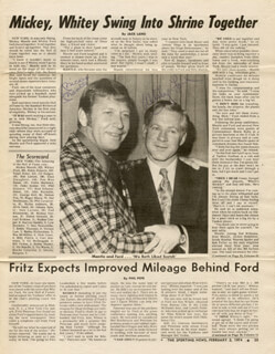 MICKEY MANTLE - NEWSPAPER PHOTOGRAPH SIGNED CIRCA 1974 CO-SIGNED BY: WHITEY FORD