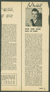 CARL HUBBELL - MAGAZINE PHOTOGRAPH SIGNED