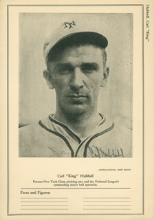 CARL HUBBELL - PRINTED PHOTOGRAPH SIGNED IN INK  - HFSID 158787