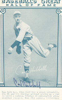 CARL HUBBELL - TRADING/SPORTS CARD SIGNED  - HFSID 158789