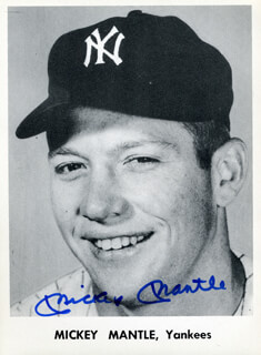 MICKEY MANTLE - PRINTED PHOTOGRAPH SIGNED IN INK