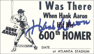 Autographs: HANK AARON - EPHEMERA SIGNED